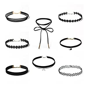 BESTOYARD Choker Necklaces Lace chokers Velvet Collar Choker Necklace for Tassel Gothic Tattoo Necklace 8pc