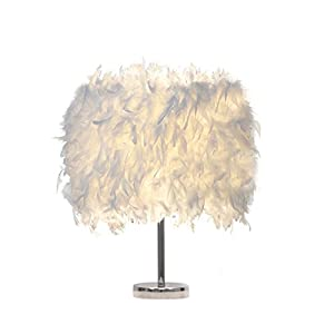 Feather lamp,White Beside Table lamp for Bedroom,Children,Wedding,Birthday,Vintage Deco Desk Light (A)