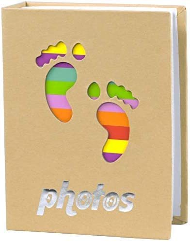 NLC Small Photo Album Baby Journal Photo Album 4x6 inch,100 Pockets Babies Lovely feet Pictures Album