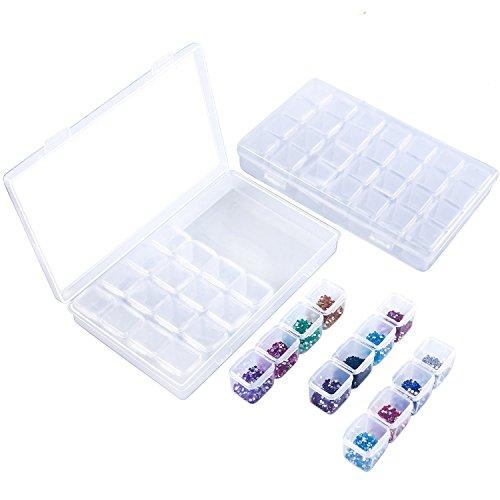 2 Pack 28 Grids Diamond Embroidery Box Diamond Painting Accessory Storage for Diamond Painting Rhinestone,Mosaic Kits,Diamond Stones Dividers Box Organizer 9'' x 4.1'' x1.1'' Box for DIY Art Craft