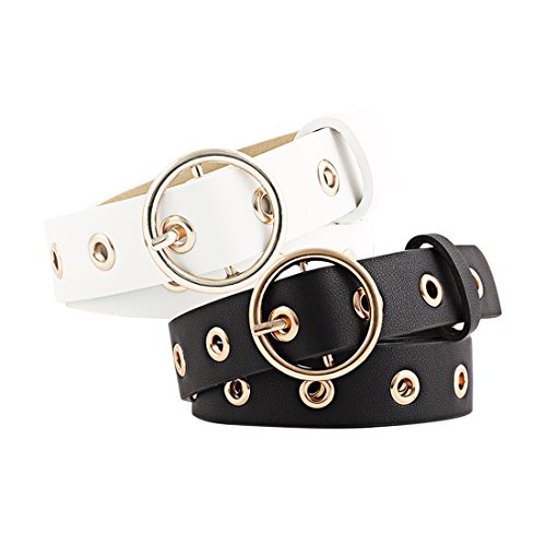 uxcell Women Grommet Holes Studded Leather Belt 28mm Width 1 1/8 Black+White