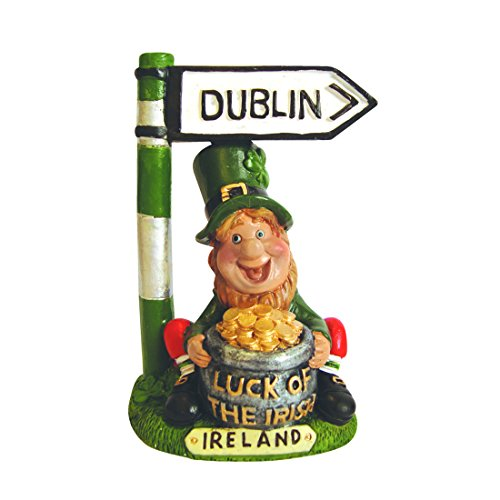 Carrolls Irish Gifts Leprechaun with Pot of Gold and Dublin Road Sign Ornamental Statue ()