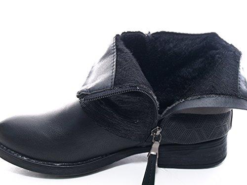 Damen Winter Stiefelette Boots Schwarz warm gefüttert # 283