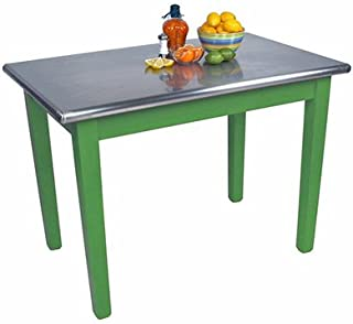 """product image for Cucina Americana Moderno Prep Table with Stainless Steel Top Base Finish: Sage Green, Size: 48"""" W x 24"""" D"""