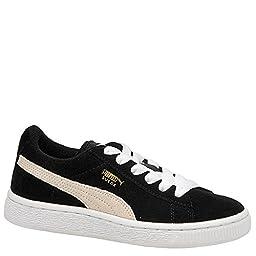 PUMA Suede Junior Sneaker (Little Kid/Big Kid) , Black/White, 13 M US Little Kid