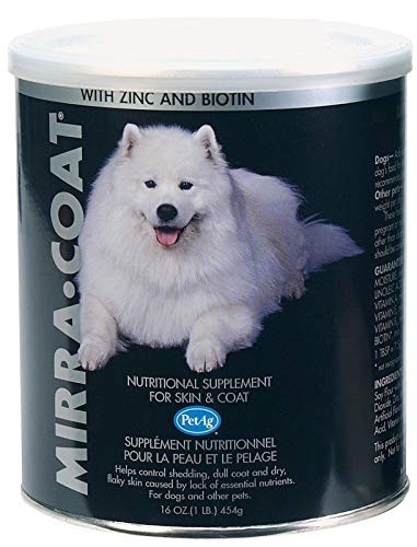 Mira-Coat nutrional Skin & Coat Conditioner Powder for Dogs & Similar Animals with Zink & biotin.Helps Control Shedding, Scratching, Dull Coat and Dry, Flaky Skin,So Easy to use! Serve with pet Food (Mirra Coat Nutritional Supplement)