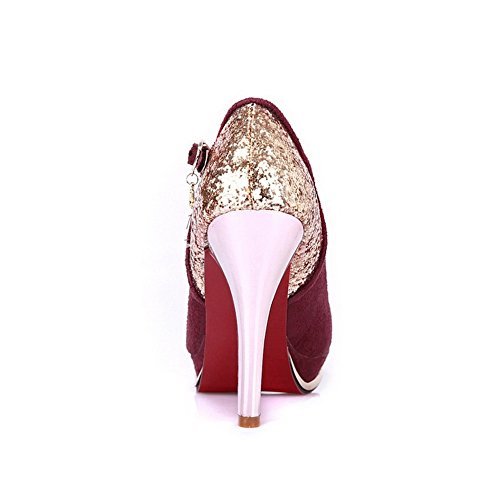 Closed Runde High Schnalle Zehe Womans Heel Vouge001 mit Lackpumps Toe Rot PU RSq51WwBn