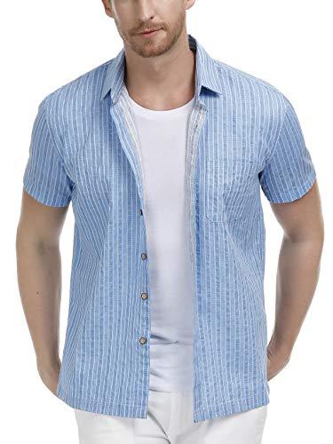 PAUL JONES Men's Short Sleeve Button Down Casual Dress Shirt Size M Blue