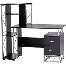 HomCom 52'' Multi Level Tower Office Workstation Computer Desk ✔Black