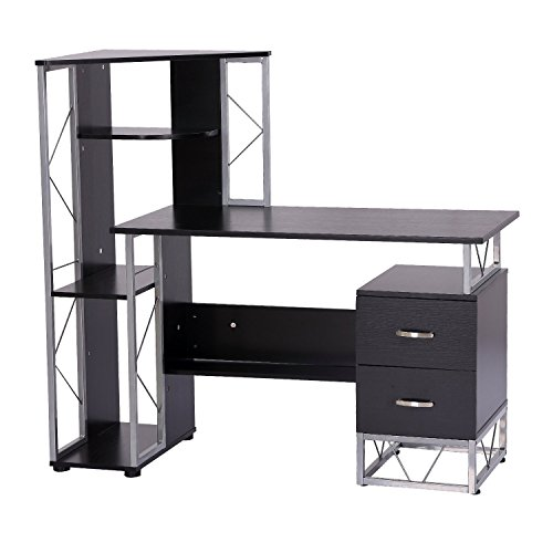 desk bookshelf black co homcom uk high gloss aosom home w