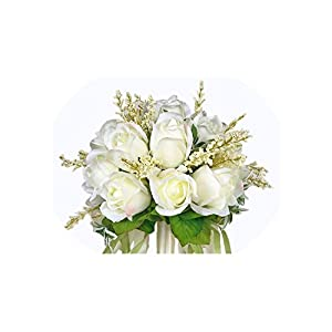meet-you Bridal Bouquet Ivory Rose Throw Wedding 18 Flowers Bridesmaid Bouquet 46