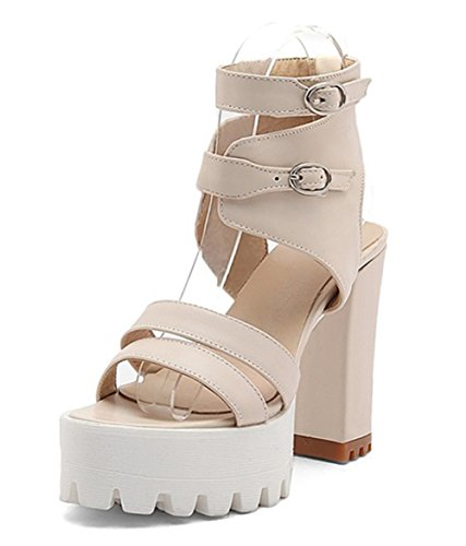 Easemax Mujeres Stylish Gladiator Stappy Buckles Plataforma De Punta Abierta High Chunky Heel Sandals Beige