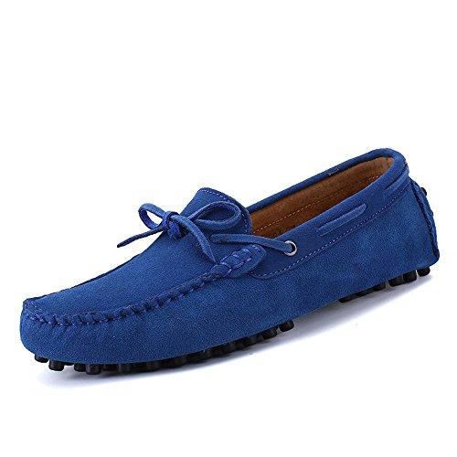 del Cuero Mocasines Blue de Mocasines Barco Clavos de Goma Conducción los Genuino Hombres de Suela xTXq1gFwX8