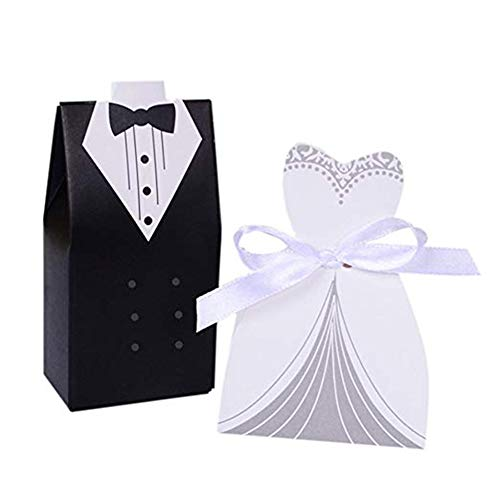 Haperlare 100pcs Wedding Party Favor Boxes Dress & Tuxedo Bride and Groom Candy Favor Box, Creative Dress Candy Chocolate Gift Box for Wedding Party Birthday Bridal Shower Decoration Supplies