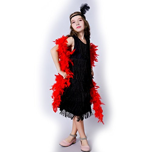 Girl 's Fashion Flapper Satin Dress Costume For Children (10-12 Y, Black)