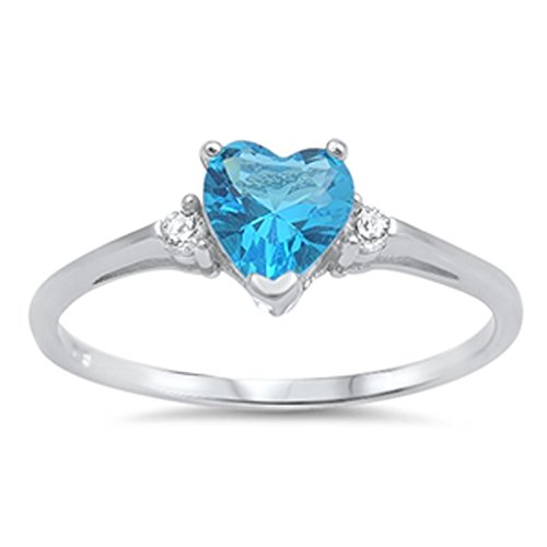 Sac Silver  Sterling Silver Blue Simulated Topaz  Heart Promise Ring, 8