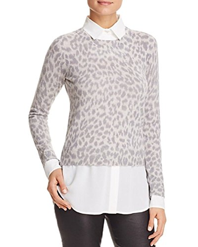 Bloomingdales Cashmere - C by Bloomingdale's Leopard Layered-Look Cashmere Sweater (Frost, XL)