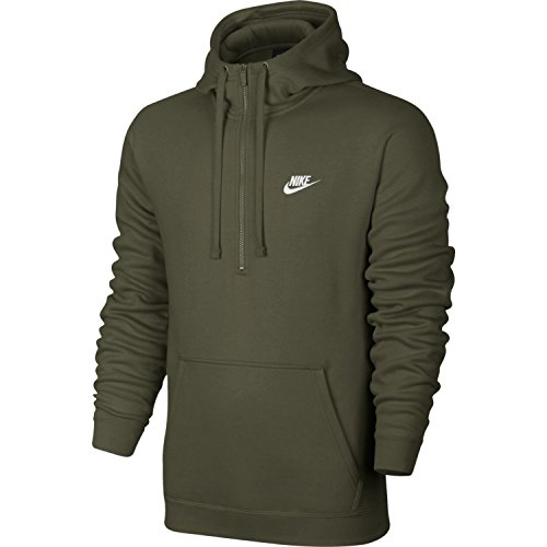 Nike Mens Sportswear Half Zip Club Fleece Hooded Sweatshirt Olive Canvas/White 812519-395 Size Medium