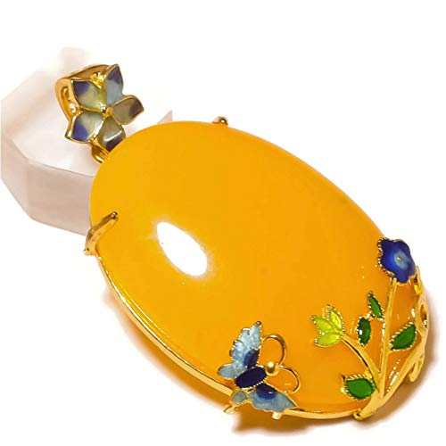 Jewels House Yellow Chalcedony Oval Large Gemstone Gold Plated Hand Carve Cloisonne Flower Butterfly Pendant