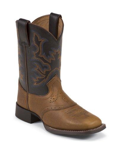 Justin Boys' Mahogany Cowboy Boot Square Toe Mahogany 12 D(M) US