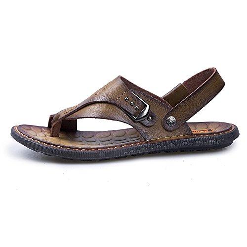 regolabili casual spiaggia Mens Cachi sandali infradito all'aperto per manuale piatti backless lavoro morbido piedi shoes PU pelle escursioni 2018 in la infradito scarpe Mens a 4twpnExqHZ
