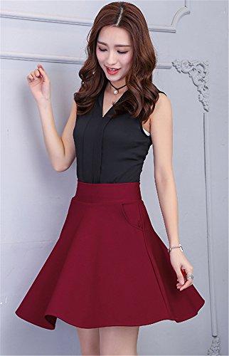 Mujer A Falda Corte Trapecio Para En O Dabag Liso Rojo gq7Pw47