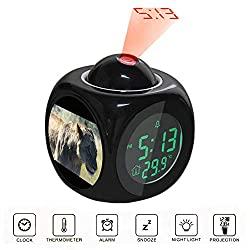 Projection Alarm Clock LCD Digital LED Display Talking with Voice Thermometer Function Desktop Lioness on Green Field