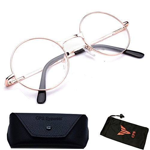 (#VR01C Gld) Round Reading Glasses with Spring Hinged for Men & Women Unisex (Gold: - Reading Circle Glasses