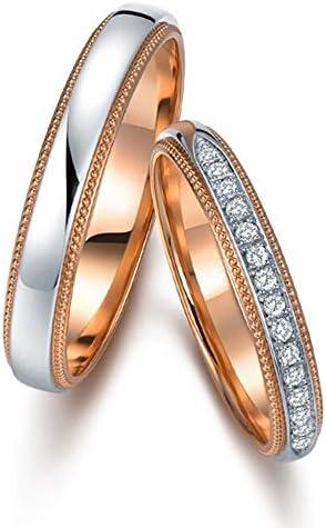 バレンタインデーのギフトファッションデザイン天然ダイヤモンド9Kローズとホワイトゴールドの結婚式の婚約の約束カップルリングセット