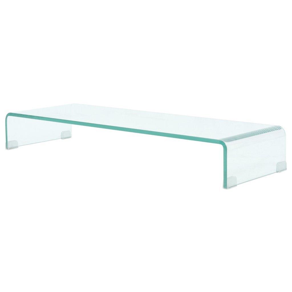 VidaXL TV-Tisch Aufsatz Monitor Erhöhung Glasbühne Podest Transparent 90x30x13cm