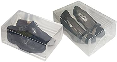 30 x 18 x 9.5, Contenitore Scarpe Trasparente Organizzatore Trasparente Porta Oggetti Set da 5 Box Porta Scarpe di Plastica