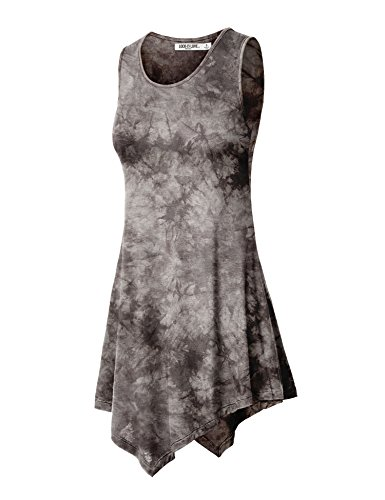 (WT1065 Womens Sleeveless Tie-Dye Tunic Tank Top S BROWN)