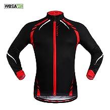 WOSAWE Thermal Fleece Cycling Jacket Jersey Shirt Long Sleece Windproof Coat
