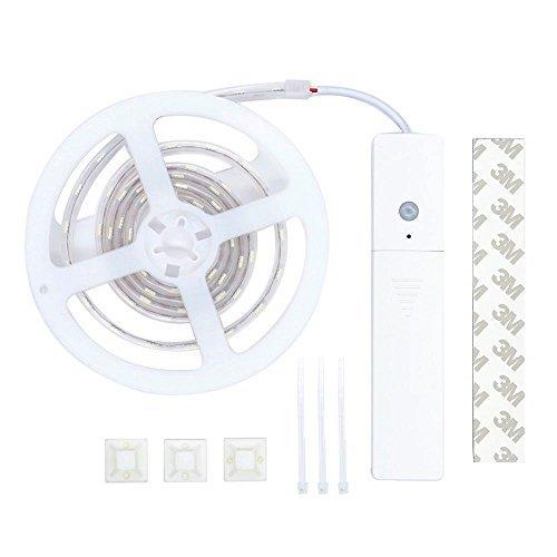 SuperLightingLED LED PIR Motion & Light Sensor,3.28Ft 5050 SMD Daylight White, Waterproof IP67 Motion Sensing Battery Power for Bedroom,Kitchen,Bathrooms, Basement, Hallway, Laundry Room, Stairwells