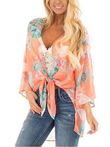 Women's Half Sleeve Kimono Floral Printed Cardigans Loose Chiffon Open Front Swimsuit Cover Up Knotted Tops Coral Pink Medium