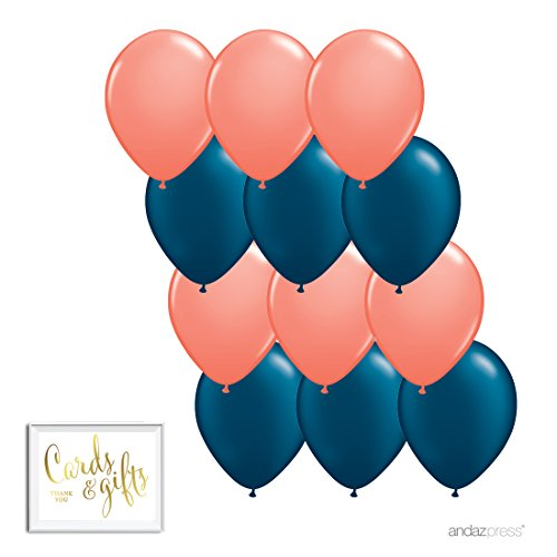 Andaz Press 11-inch Latex Balloon Duo Party Kit with Gold Cards & Gifts Sign, Coral and Navy Blue, 12-pk, Nautical Engagement Bridal Shower Decorations ()