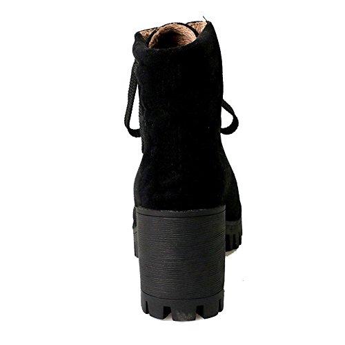 AllhqFashion Mujeres Sólido Gamuza(Imitado) Tacón Alto Cordones Puntera Redonda Botas Negro