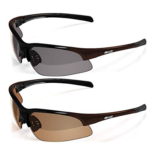 2 Pair of Maxx Domain HD Polarized Golf Sport Motorcycle Riding Sunglasses 1 with Smoke Lens and 1 with Amber Lens (Black-Bronze)
