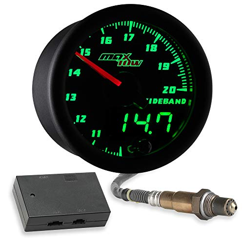 MaxTow Double Vision Wideband Air/Fuel Ratio AFR Gauge Kit - Includes Oxygen Sensor, Data Logging Output & Weld-in Bung - Black Gauge Face - Green LED Dial - Analog & Digital Readouts - 2-1/16