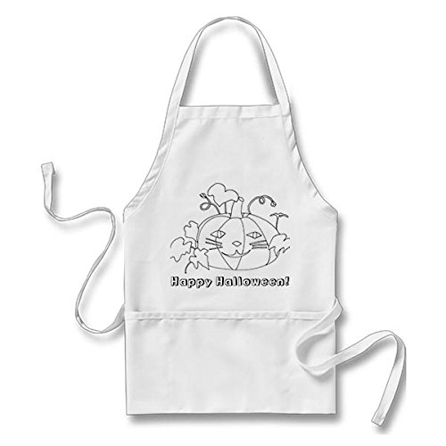 Starings Kitchen Apron Cat Face Pumpkin Happy Halloween Coloring Apron for Men Women with Pockets, White -
