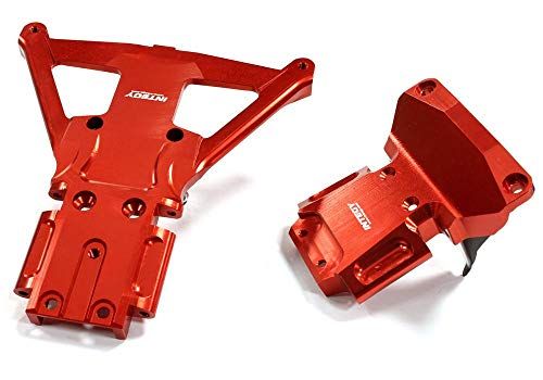 Integy RC Model Hop-ups C25302RED Billet Machined Front & Rear Bulkhead for Traxxas Slash 4X4 LCG Chassis