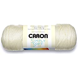 Caron Simply Soft Solids Yarn (4) Medium Gauge 100% Acrylic - 6 oz - Off White - Machine Wash & Dry