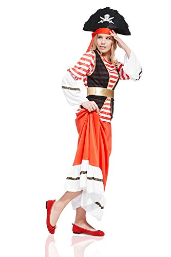 [Adult Women Pirate Wench Halloween Costume Pretty Buccaneer Dress Up & Role Play (Standard)] (Halloween Pirate Woman Costumes)