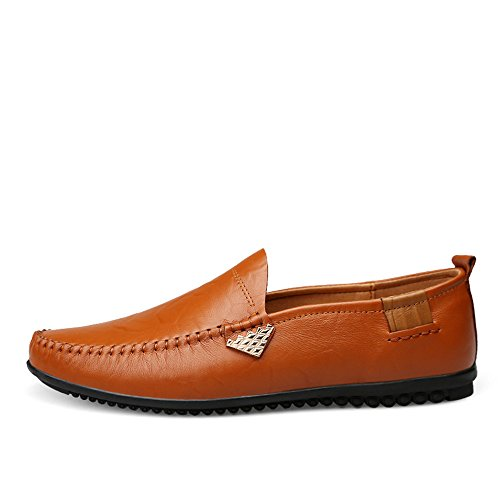 Light Casual Hombre Slip Conducción de Brown para de Zapatos Mocasines en Cuero Genuino Respirables ExqfZ7