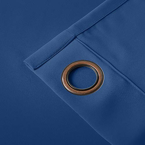 cololeaf Flame Fire Retardant Curtains Room Darkening Blackout Window Curtain for Home, Kitchen, Office, Hotel, School, Cinema and Hospital- Anti-Bronze Grommet - Blue 52W x 84L Inch (1 Panel) by cololeaf (Image #4)