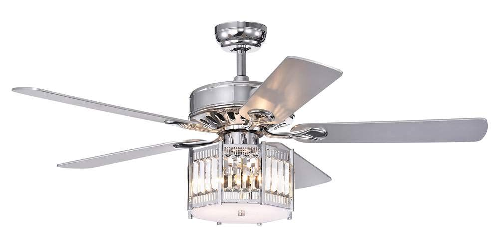 Home Accessories CFL-8417REMO/CH Valens Chrome 52-Inch 5 Lighted Octogon Shade (Incl. Remote & 2 Color Option Blades) Ceiling Fan, One Size,