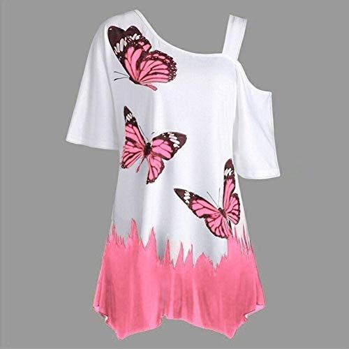 Costume Et Shirts Papillon Chic Haut Epaule Shoulder Imprim Femme Off Courtes Tee Une Tops Rose Mode Manches Loisir Baggy Elgante Oversize Tunique Shirt 7CRngIq8