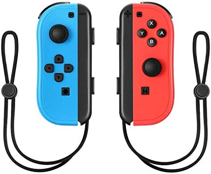 Joy-Con Controller Replacement Wireless Controller for Nintendo Switch,Switch Gamepad with Dual Vibration Motor Gyroscope, with with Strap and Support Wake-up Function(Blue and Red)