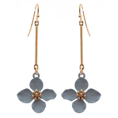 Rosemarie Collections Women's Dangle Bar Flower Drop Earrings ()