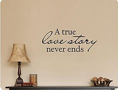 "48""x20"" A True Love Story Never Ends Romance Bedroom Wall Decal Sticker Art Mural Home DŽcor Quote"
